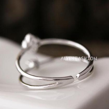 Adjustable Crystal Double Ring Simp..