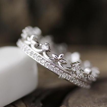 Crystal Crown Ring Tiara Ring Princ..