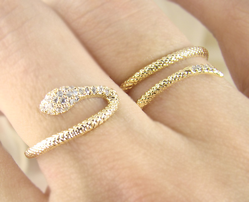 Women s Teen s Snake Ring Wrap Two Fingers With Crystal Yellow