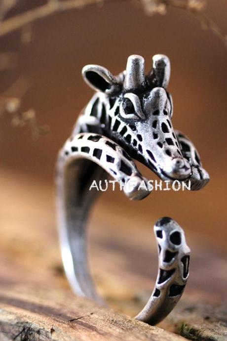 Giraffe Ring Women's Girl's Retro Burnished Animal Ring Jewelry Adjustable Free