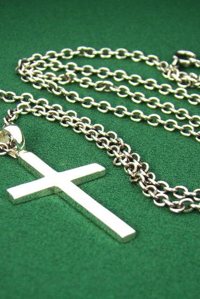 P315SC Mens Sterling Silver 925 Simple Cross Pendant Chain Necklace Set Charm
