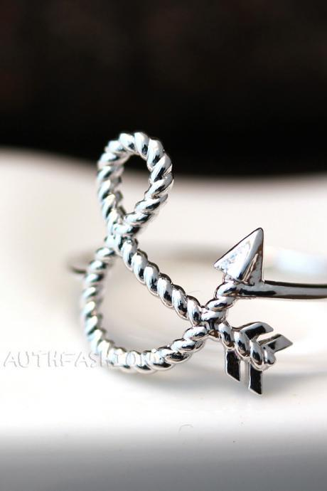 You & I Ampersand Arrow Ring Unique Simple Korean Fashion Trend Gift Idea