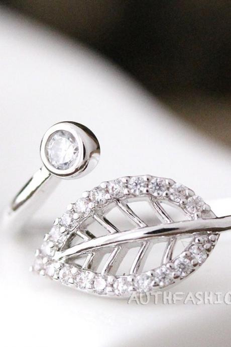 Adjustable Crystal leaf Ring Twig Ring Silver Plated Jewelry gift idea Byr20