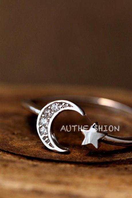 Simple Crescent Moon Star Ring Adjustable Open Silver Plated Jewelry gift idea