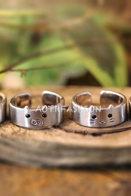 1piece Animal Ring Cute Band ring Ring Jewelry Wrap Ring Adjustable Bear Bunny Pig Kitty