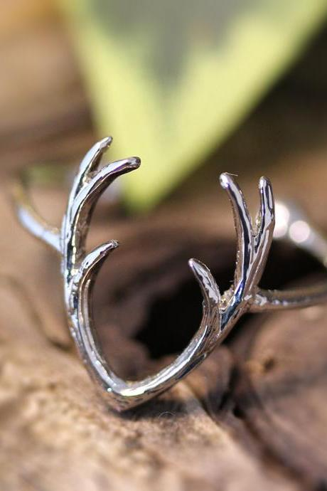 Antler Knuckle Ring Woodland Adjustable Ring Reindeer Staghorn Gold Silver plate