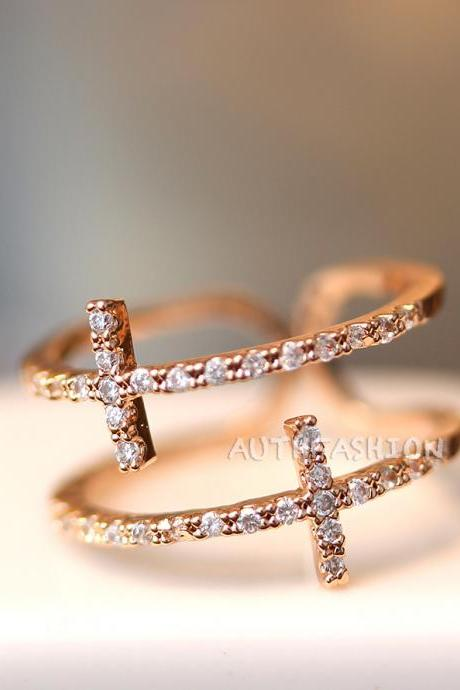 Sideways Mc Double Cross Ring Adjustable Crystal Silver / Rose Gold plated Gift Idea