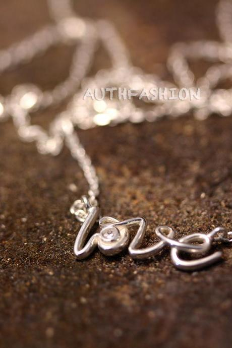 Sterling Silver Love Letter Pendant Necklace Women's Classic Jewelry