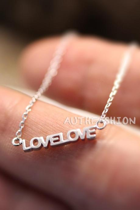 Sterling Silver Love Love Letters Pendant Necklace Women's Simple Jewelry